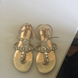 Badgley Mischka Flat Sandals worn once. Size 8.